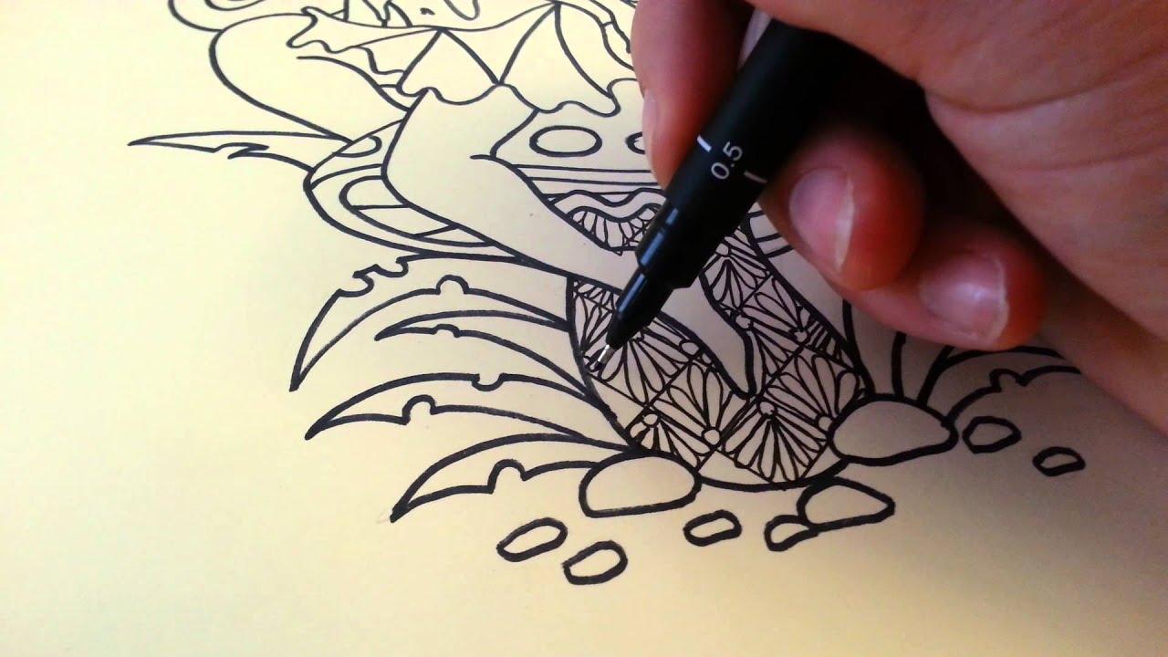 Quarter flowers doodle pattern zentangle tutorial youtube for Doodle tutorial