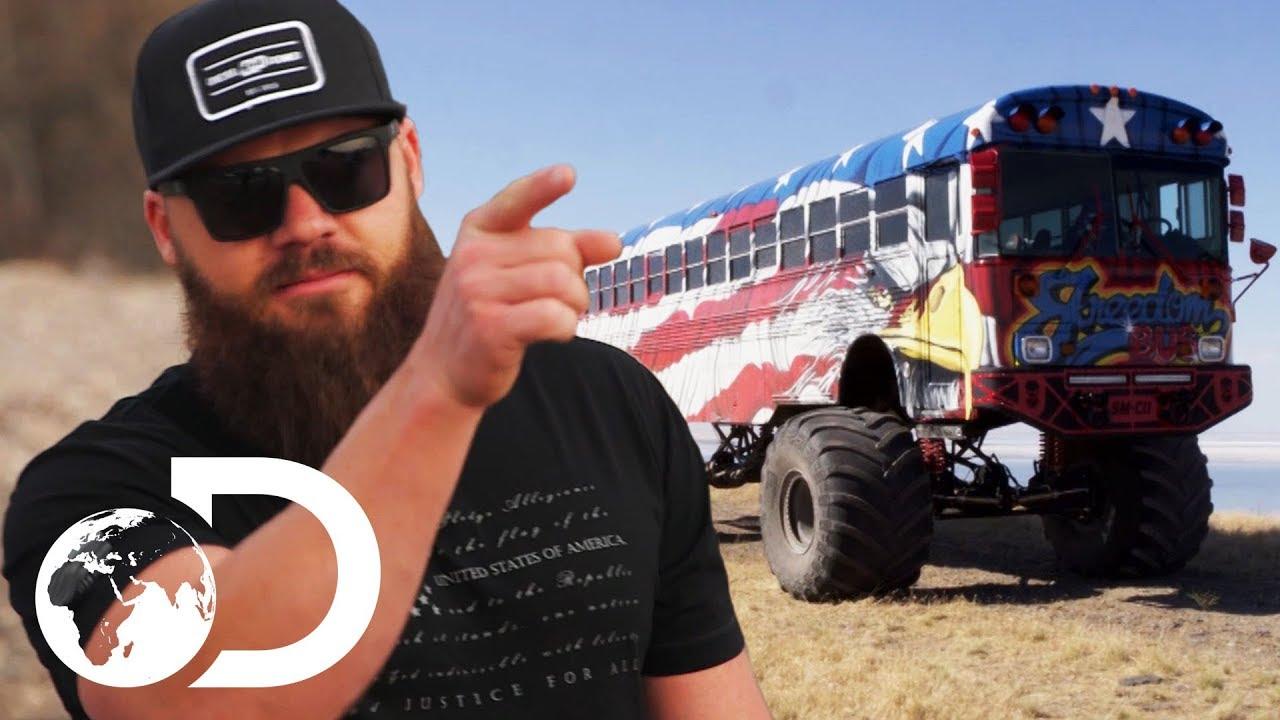 school bus gets huge monster truck wheels diesel brothers youtube. Black Bedroom Furniture Sets. Home Design Ideas