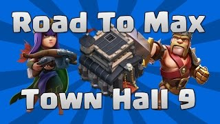 Clash Of clans road to max th9 #2 (town hall 9) Awesome gameplay = upgrading my queen to 16