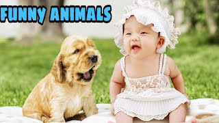 Funny babies 😂😂and animal 😸🐕videos-fun and fails baby videosاروع مقاطع اطفال يلعبون مع الحيونات