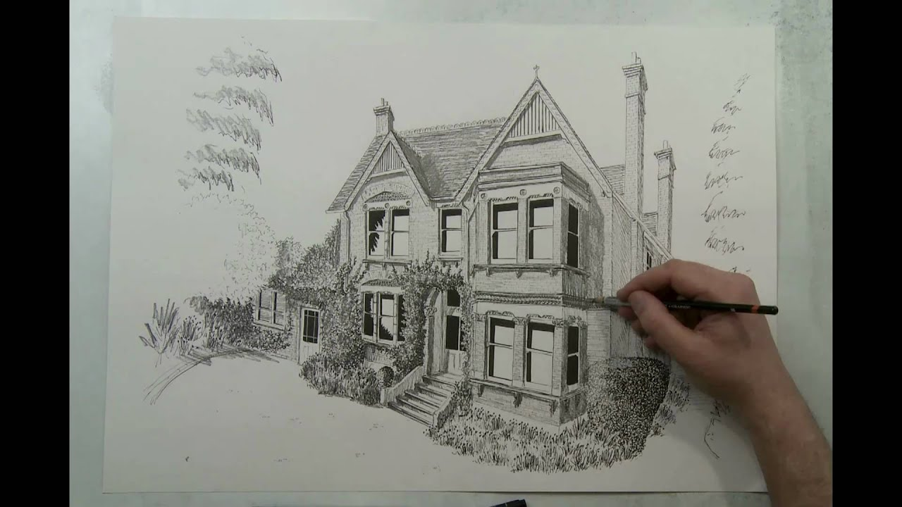 How to draw a house house portrait in 90 seconds by eli for Two story house drawing