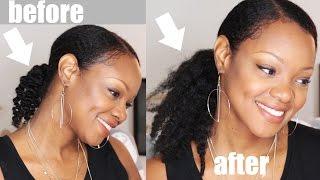 CROCHET BRAID Ponytail Hack | THICKER Hair- NO Braiding! Thin Natural Hair Tutorial | BorderHammer