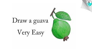 how to draw a guava step by step  (very Easy)