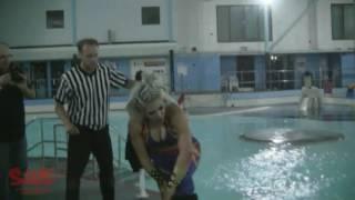 Melina Perez , Kay Lee Ray , Nixon & Alex Windsor go swimming during wrestling match