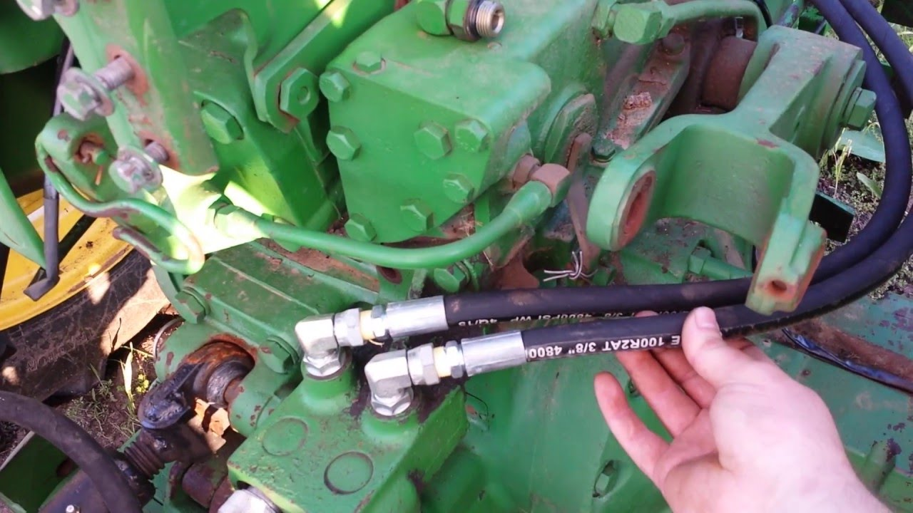 John deere 3020 4020 5020 rear service hydraulic hose replacement  YouTube