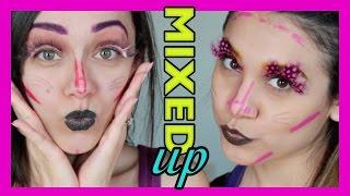 MIXED UP makeup challenge! | Maquillaje REVUELTO!