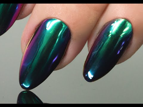 MIRROR POWDER EMERALD GREEN Step by Step - Nails 21 - YouTube