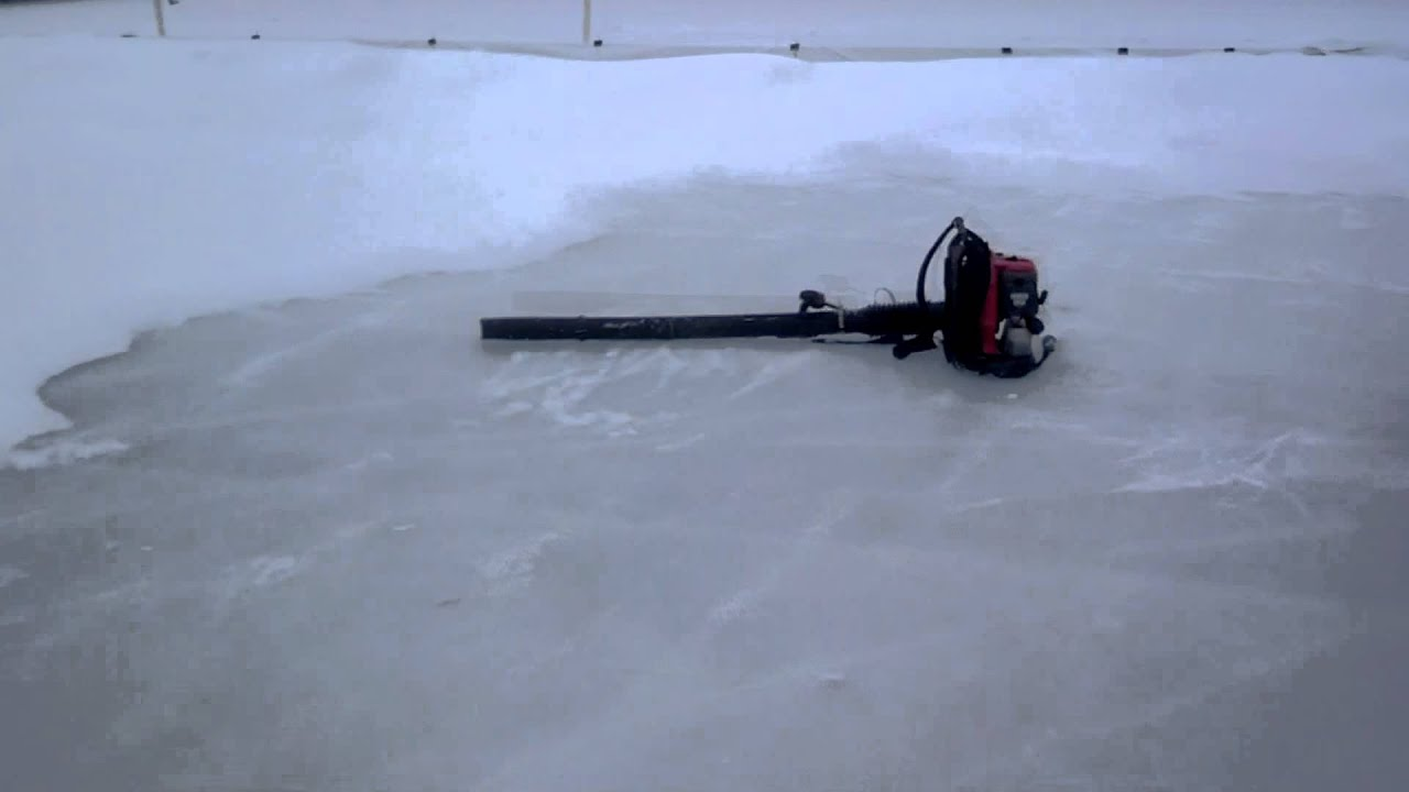 the lazy way to clear snow off an outdoor ice rink youtube