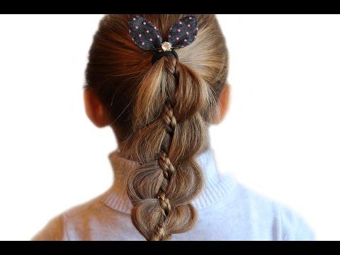 Смотреть онлайн Детская праздничная прическа коса из четырех прядей на 8 марта в садик (школу)