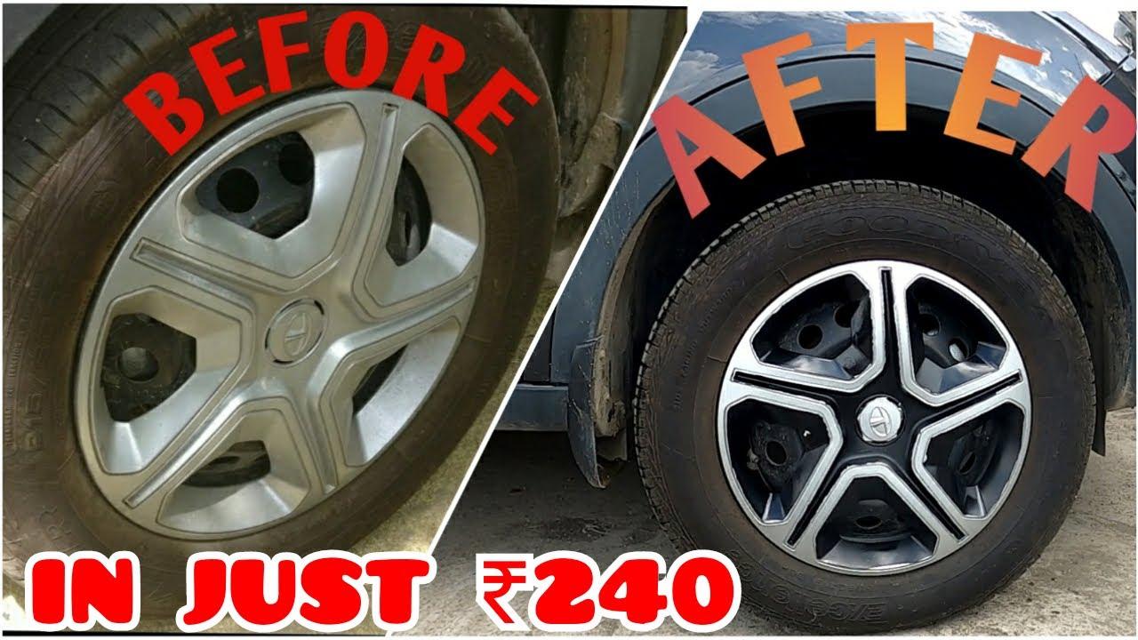Car Wheel Cap Modified To Give Alloy Look | How To Spray Paint Car Wheels |  Tata Nexon Modification - YouTube