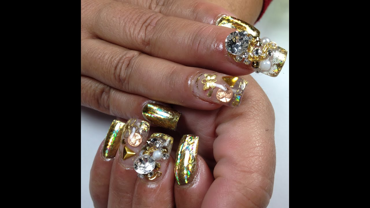 Gold Foil Acrylic Nails - YouTube