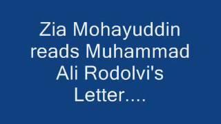 Zia Mohiuddin reads Mohammad Ali Rodolvi's letter