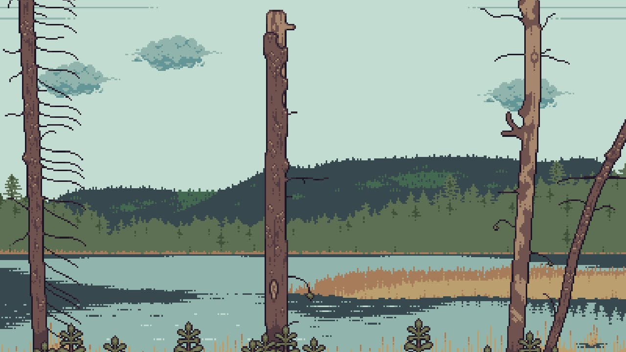 Pixel Art Stake Lake Landscape Timelapse Youtube