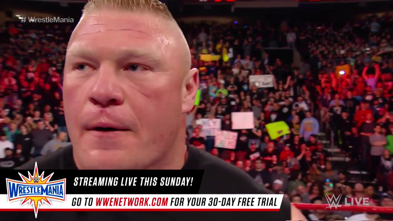 Download Goldberg meets Brock Lesnar face to face before WrestleMania  Raw, March 27, 2017
