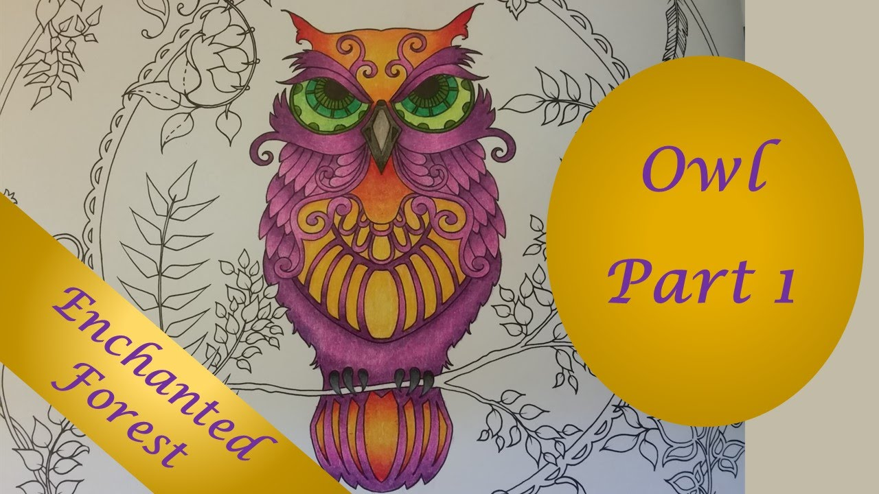 the owl part 1 enchanted forest by johanna basford speed coloring youtube