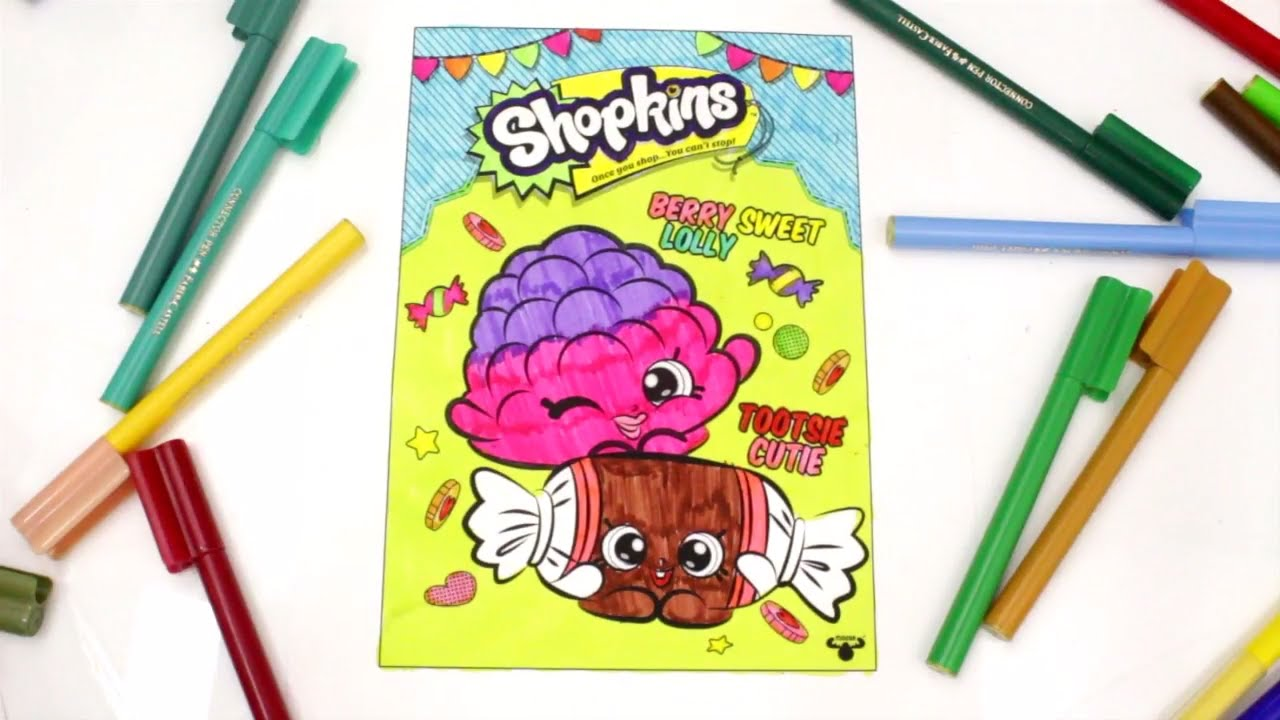 Coloring Shopkins Berry Sweet Lolly And Tootsie Cutie Shokins Pages For Kids