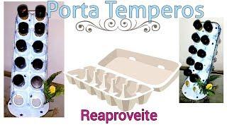 Diy - Porta Temperos feito com Caixa de Ovos e Tubetes/ Do lixo ao luxo - Refazendo o vídeo