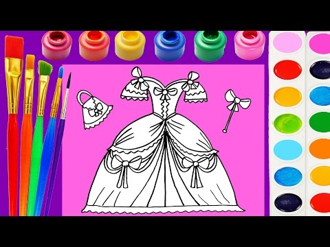 Thumbnail: Princess Dress Coloring Page for Kids to Learn Colors for Children