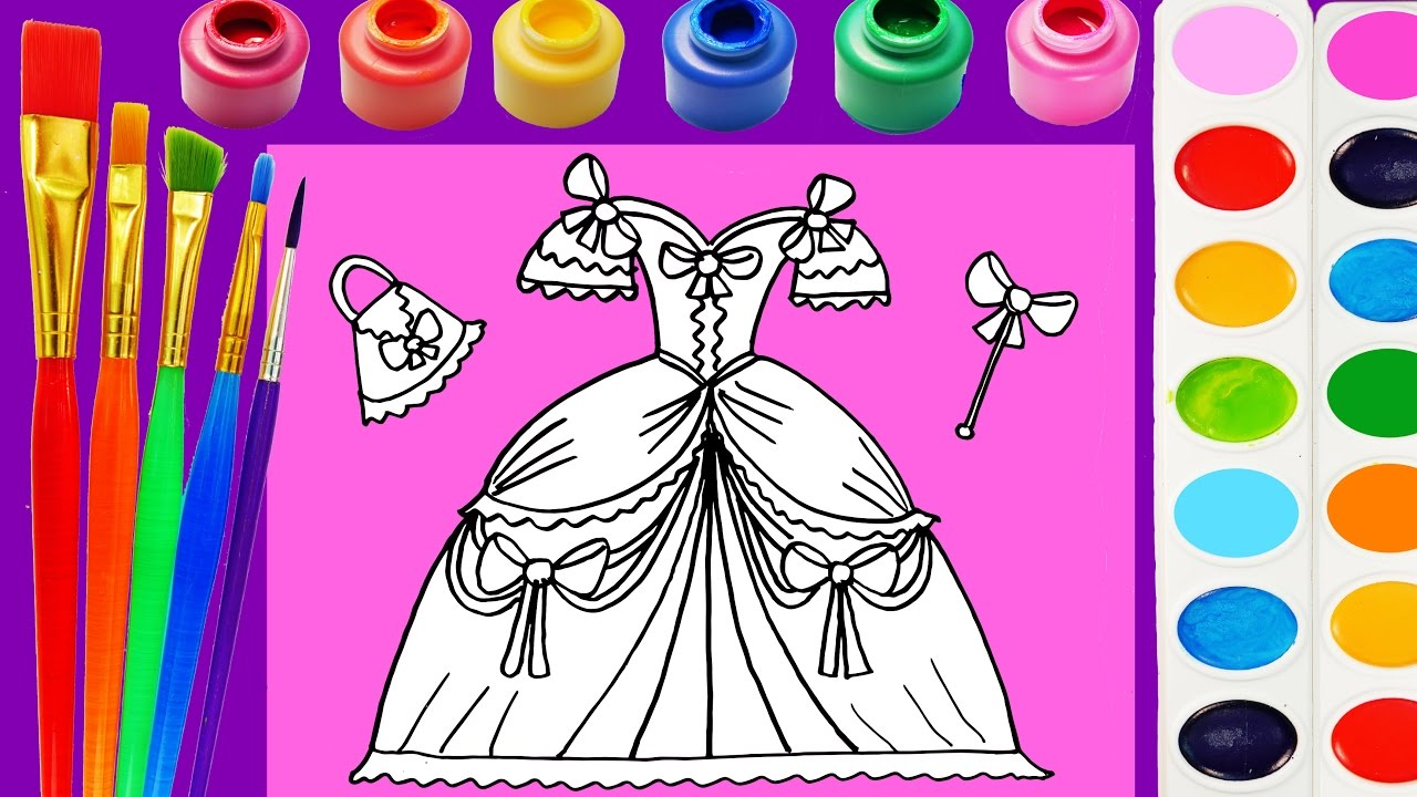 Princess Dress Coloring Page for Kids to Learn Colors for Children ...