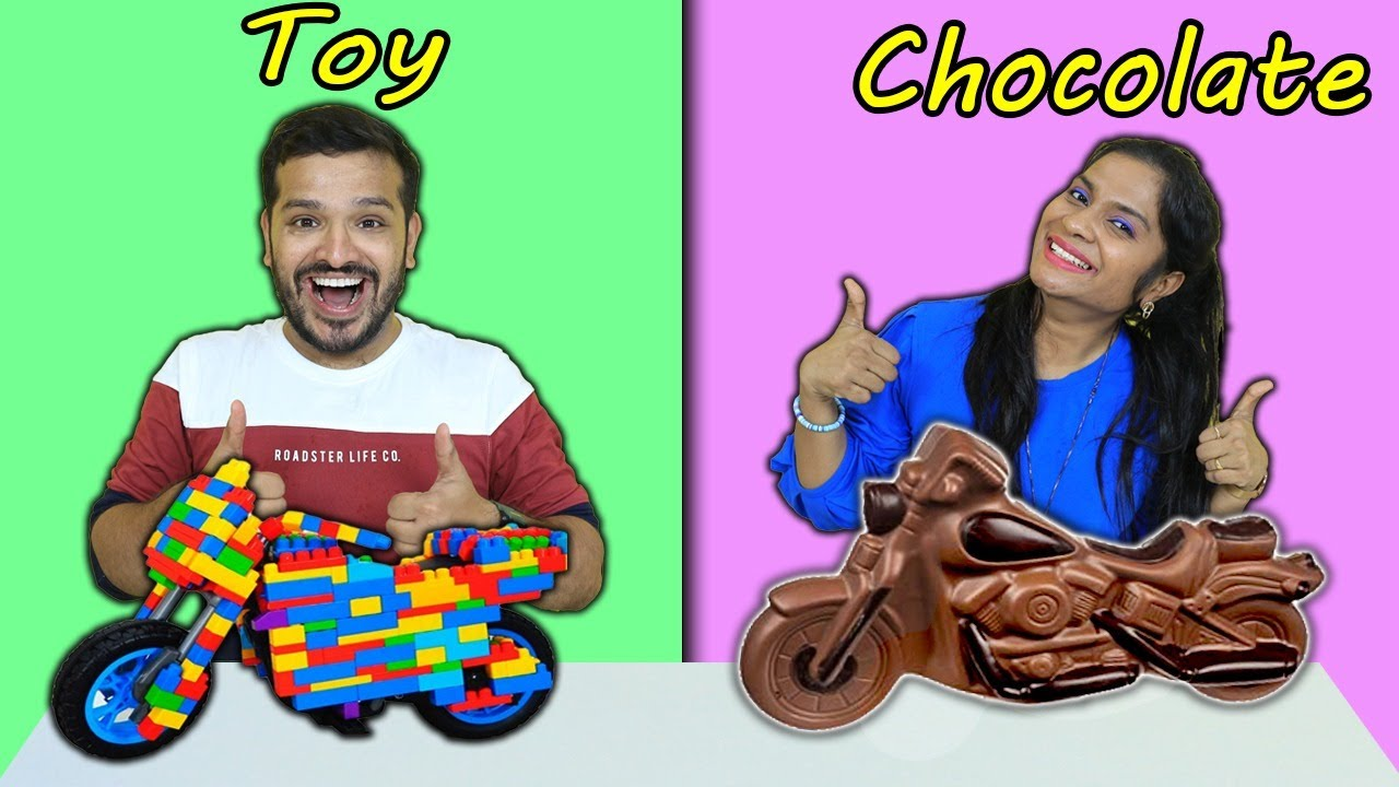 Toy Vs Chocolate Food Challenge | Hungry Birds