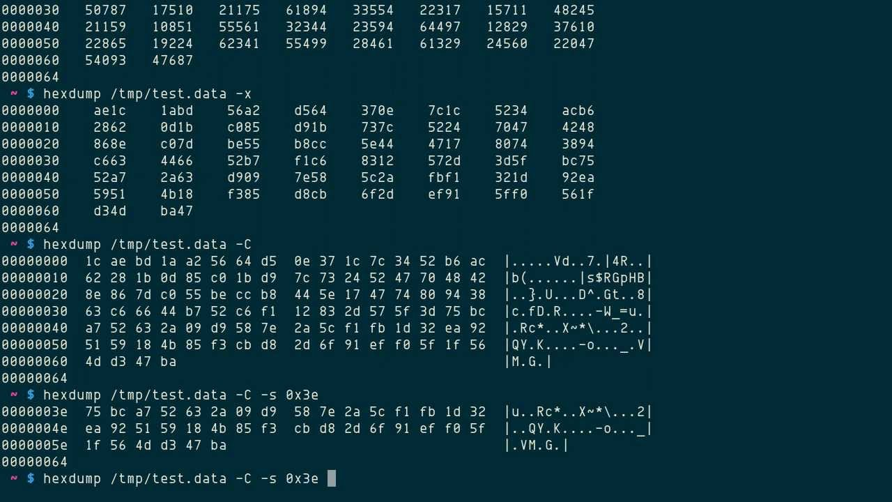 hexdump: file viewer in ASCII, decimal, octal, or hexadecimal