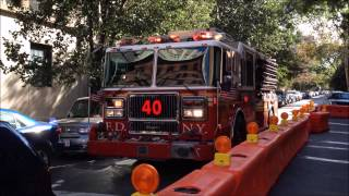 FDNY ENGINE 40 RESPONDING, WITH NICE HORN USAGE, ON W. 75TH ST. ON WEST SIDE OF MANHATTAN, NEW YORK.