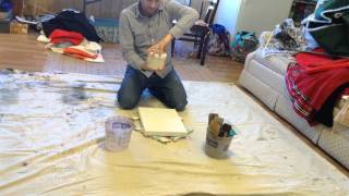 Time lapse: Prepping a canvas with gesso.