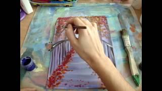 Как Нарисовать ОСЕНЬ гуашью. Пейзаж. Как нарисовать поэтапно.