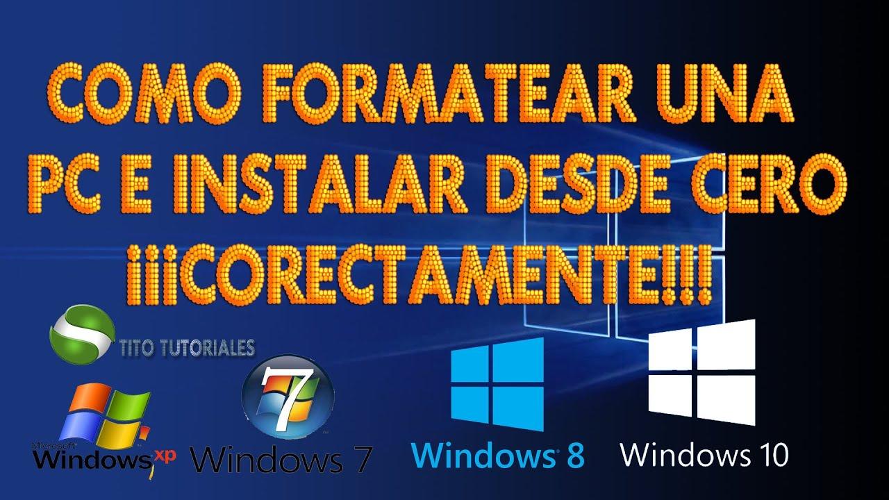 Formatear una pc e instalar windows 8. 1 desde cero 2017 hd youtube.