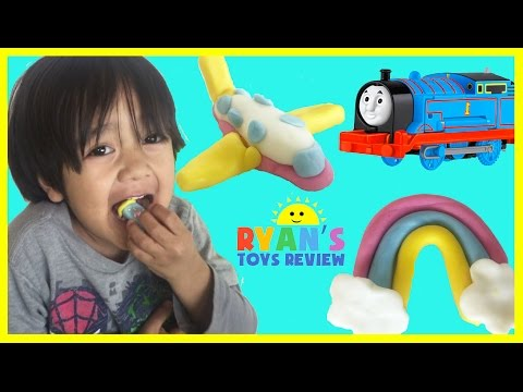 Thumbnail: Japanese Play doh Candy for kids playdough with Thomas and Friends Toy Trains Ryan ToysReview