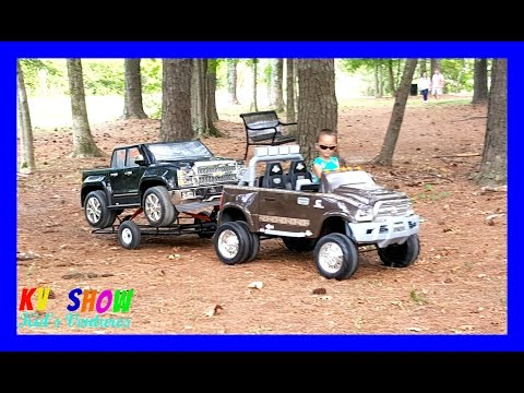 Playing With His Power Wheels Ride On! Dodge Ram 3500 Dually Hauling the Chevy Silverado 12Volt