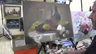 Натюрмотр с виноградом   Урок живописи ,Игорь Сахаров   162
