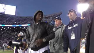 Watch Penn State legend LaVar Arrington sing, dance, and give some defensive tips on the sidelines