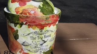 DIY Chalk Paint Tea Container Upcycle Decoupage
