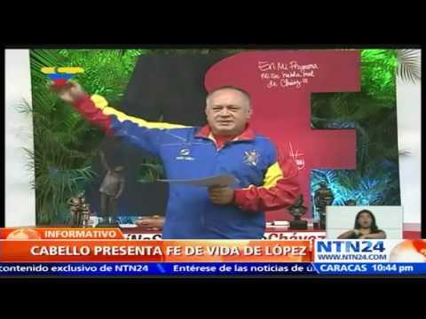 """Cabello presenta """"fe de vida"""" de Leopoldo López tras rumores de que el dirigente estaba muerto"""