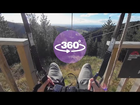 Christchurch Adventure Park - Zipline - 'The Long Ride' - (360 Video)