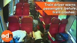 Train driver warns passengers seconds before train crashes in to lorry