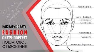 ✐ Как нарисовать лицо девушки 💋 Уроки рисования. ✎Как нарисовать портрет пошагово.