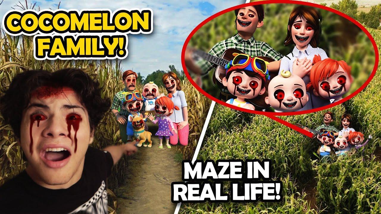 DRONE CATCHES CREEPY COCOMELON FAMILY IN A MAZE!! (CURSED COCOMELON INSIDE REAL LIFE MAZE)