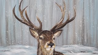 Realistic Deer Stag Acrylic Painting LIVE Tutorial