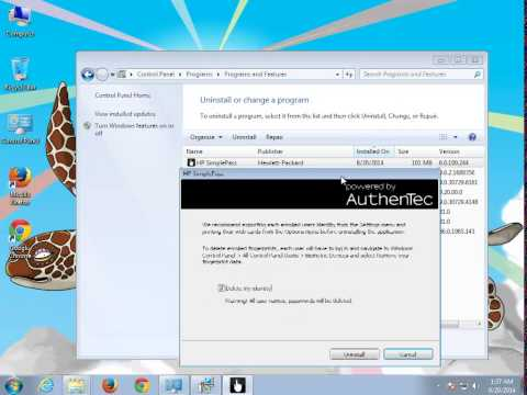 Uninstall HP SimplePass 6.0 on Windows 7
