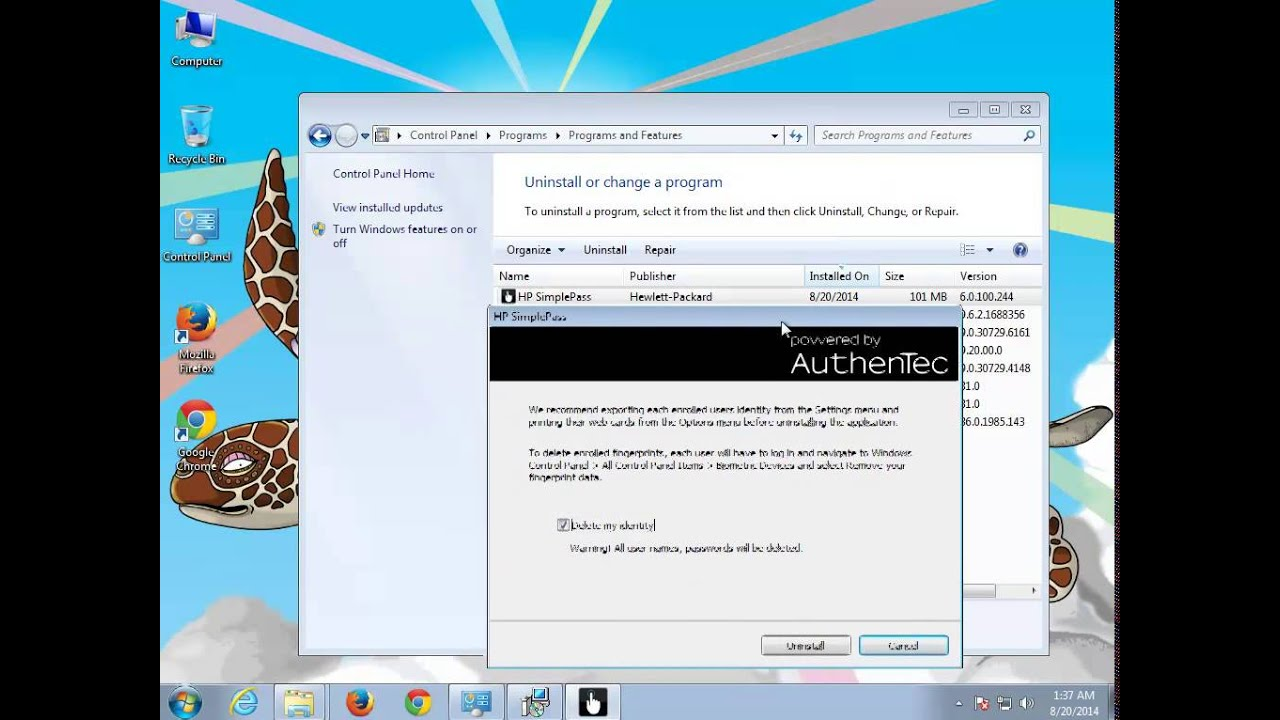 Uninstall HP SimplePass 6.0 on Windows 7 - YouTube