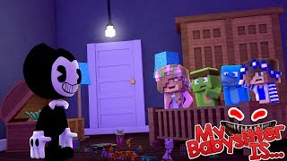 - MY BABYSITTER IS ..... BENDY AND THE INK MACHINE Minecraft w Little Kelly Tiny Turtle Sharky