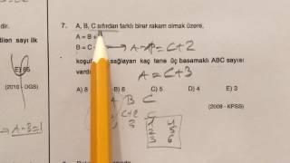 ösym sınavlarında çıkmış matematik soru çözümleri - sayı basamakları test 1/2