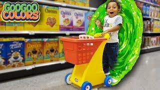 Grocery Shopping Through Magic Wall! (Learn To Shop for Healthy Foods)