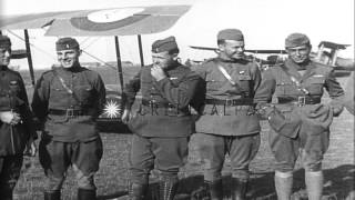 Breguet 14, Salmson 2, and Spad aircraft. American fliers and French officers see...HD Stock Footage