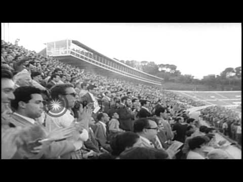Vladimir Kuts of Russia wins the 5000 meter race at Olympic stadium in Rome, Ital...HD Stock Footage