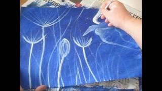 Рисуем акрилом ,как научится  рисовать ,пейзаж фантазийный.№1