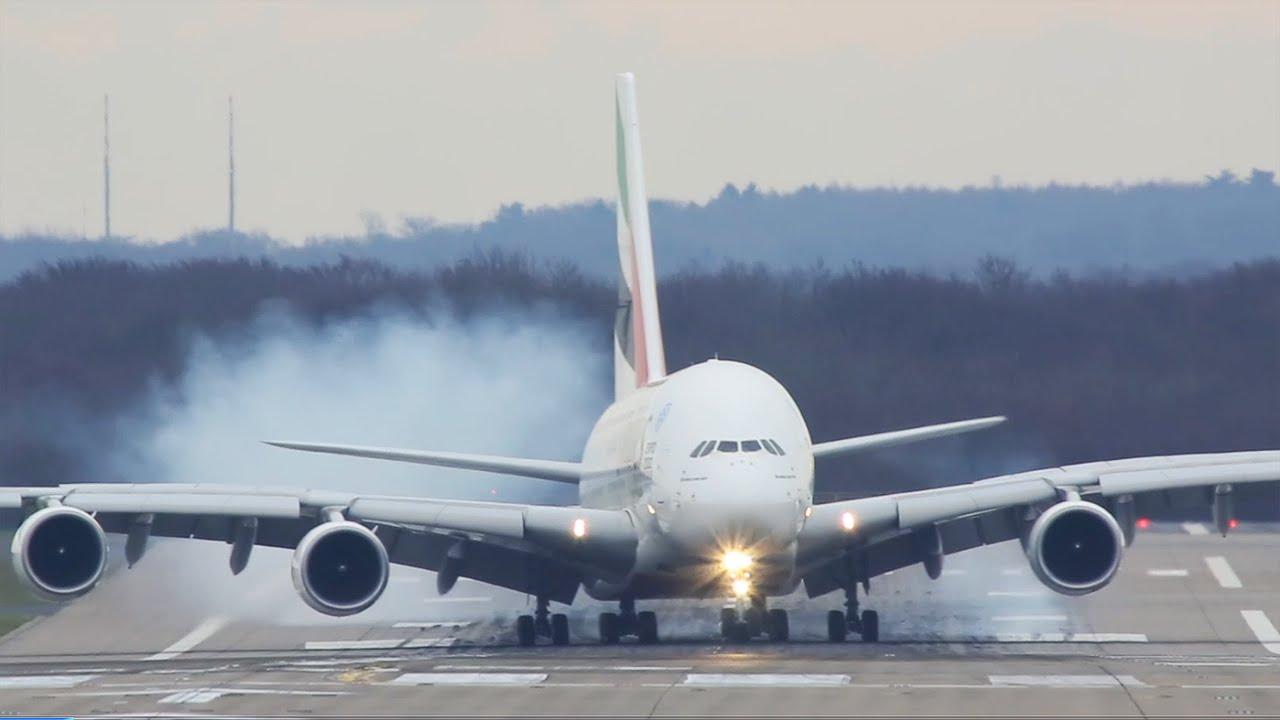HARD Airbus A380 Landing - YouTube