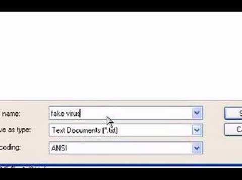 how to create a fake virus using notepad